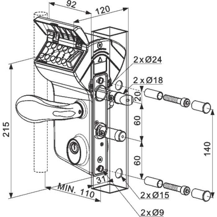 Serrure de portail à code mécanique LMKQ40 - Axe 60 mm-1