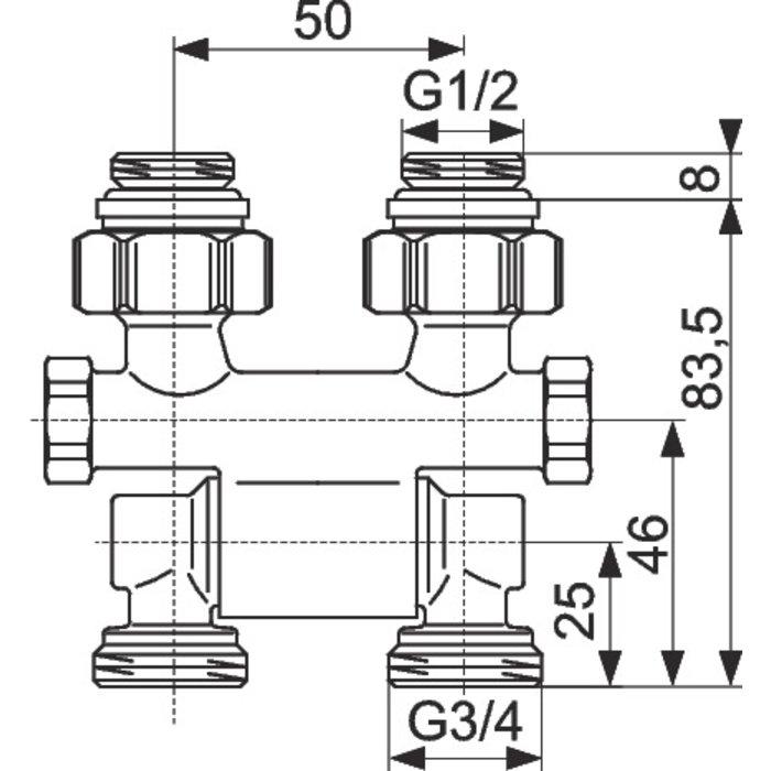 Raccord d'arrêt de radiateur ZB Multiflex - Droit - Orientable-2