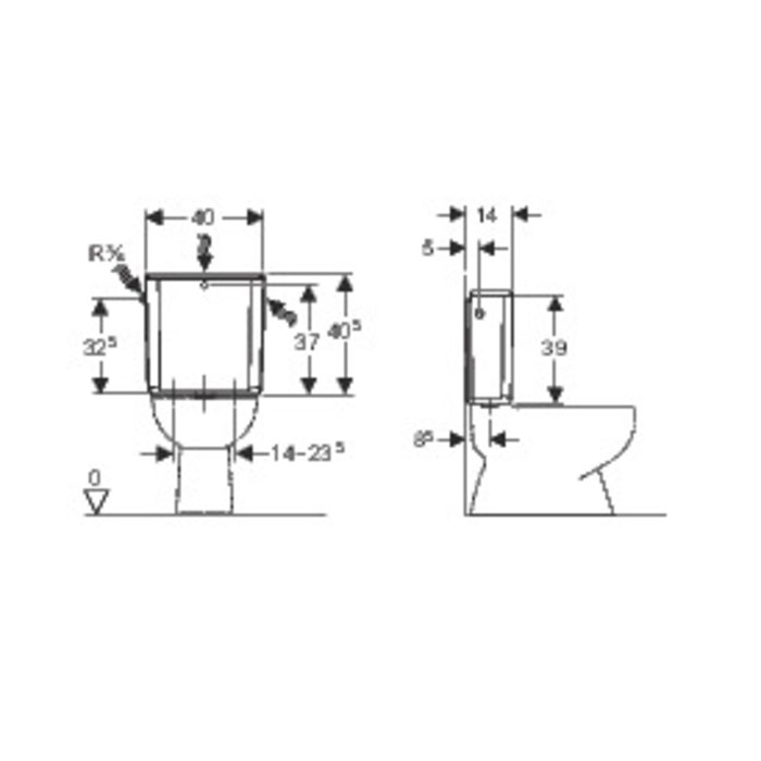 Réservoir WC attenant AP 128 - Double débit-1