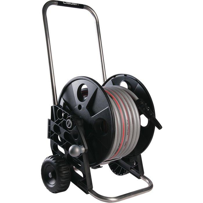 Dévidoir de tuyau d'arrosage sur roues - Compact - Avec tuyau de 25 m de longueur