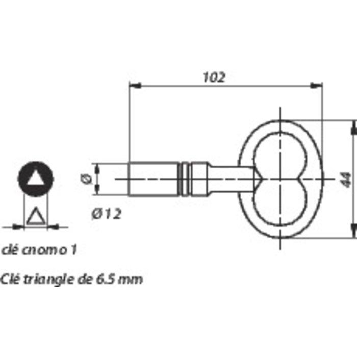 Clé triangulaire pour coffret technique - Triangle 6,5 mm-1