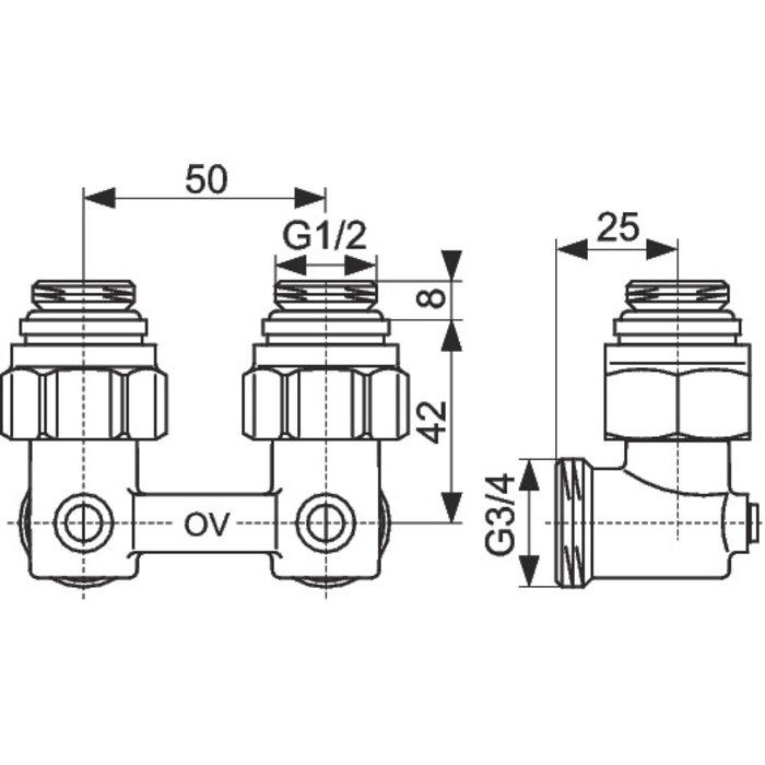 Raccord d'arrêt de radiateur ZB Multiflex - Équerre-2