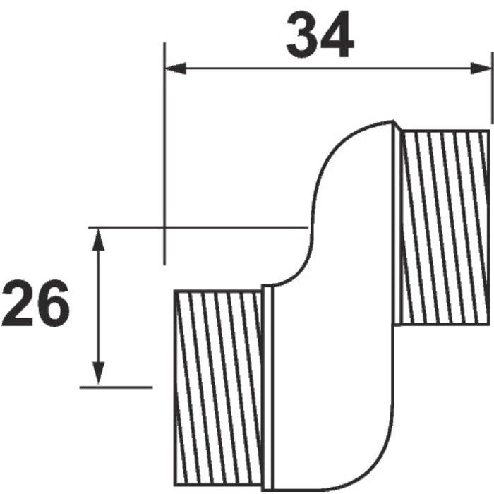 Raccord excentré - Mâle / Mâle - Excentration de 26 mm-1