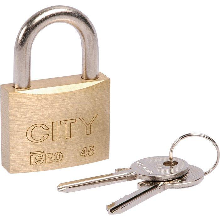 Cadenas à clé City - Laiton - Avec 2 clés-1