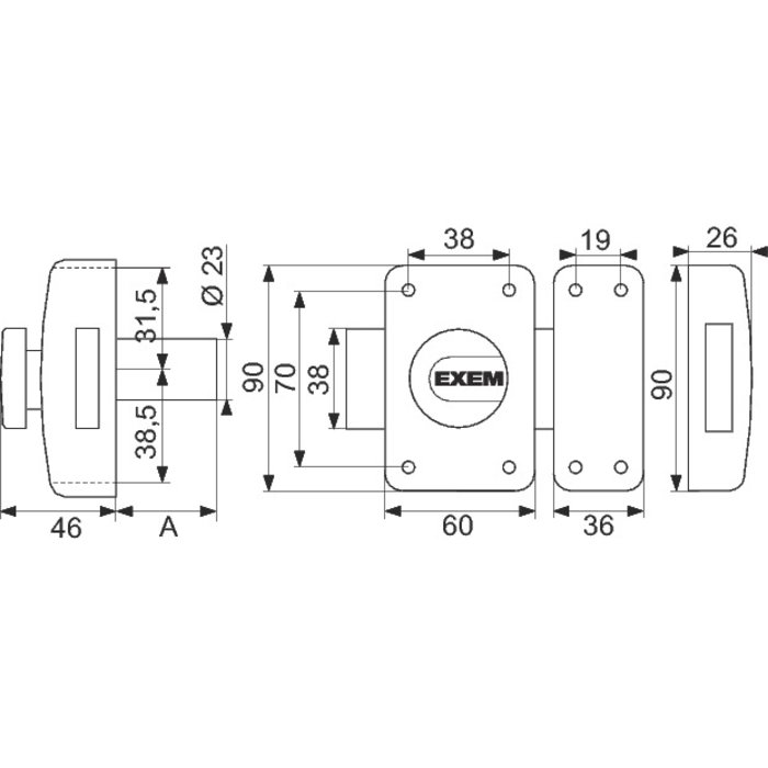 Verrou de sûreté - À bouton - Époxy or-1