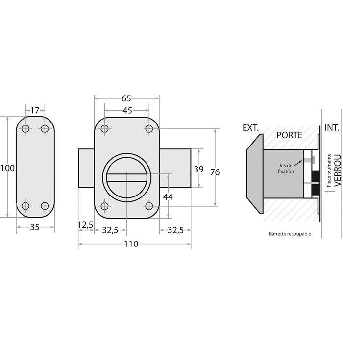 Verrou à bouton V136 système V5 - Cylindre extensible - Verni bronze-1