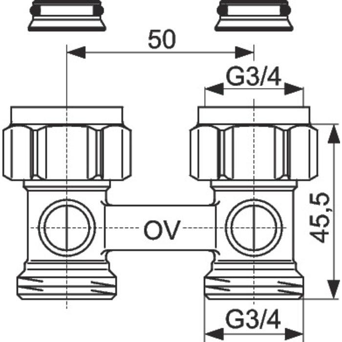 Raccord d'arrêt de radiateur ZB Multiflex - Droit-1