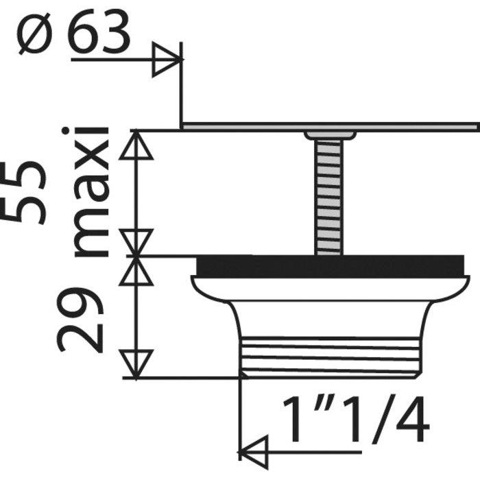 Bonde  à grille de lavabo - Plastique - Diamètre 63 mm-1