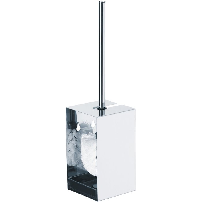 Porte-balayette WC - Inox - Mural ou à poser - Hauteur 400 mm