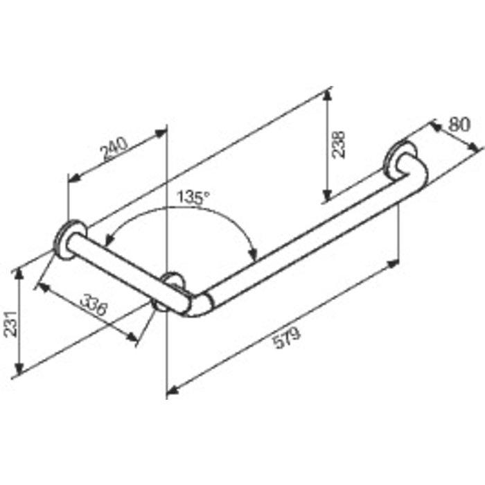 Barre d'appui coudée 135° - Diamètre 34 mm - Nylon-1
