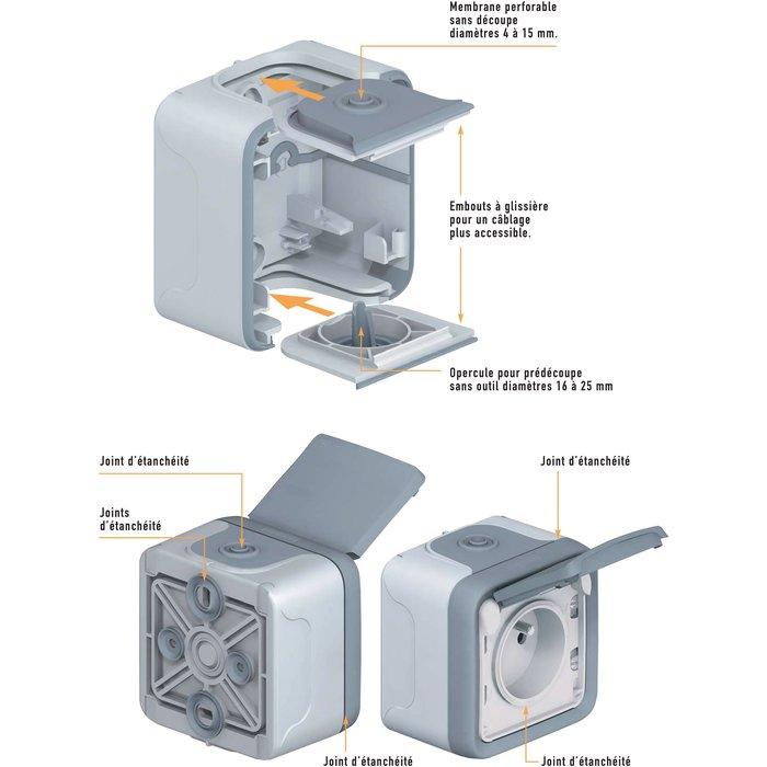 Prise Plexo - Bornes automatiques - Appareillage complet - Gris-2