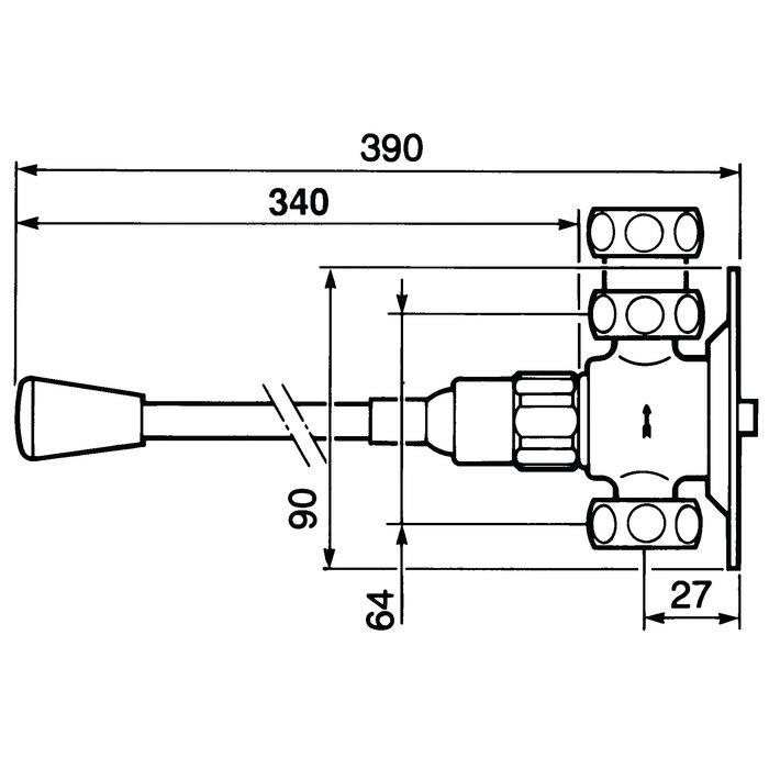 Robinet temporisé lavabo au genou P712-1