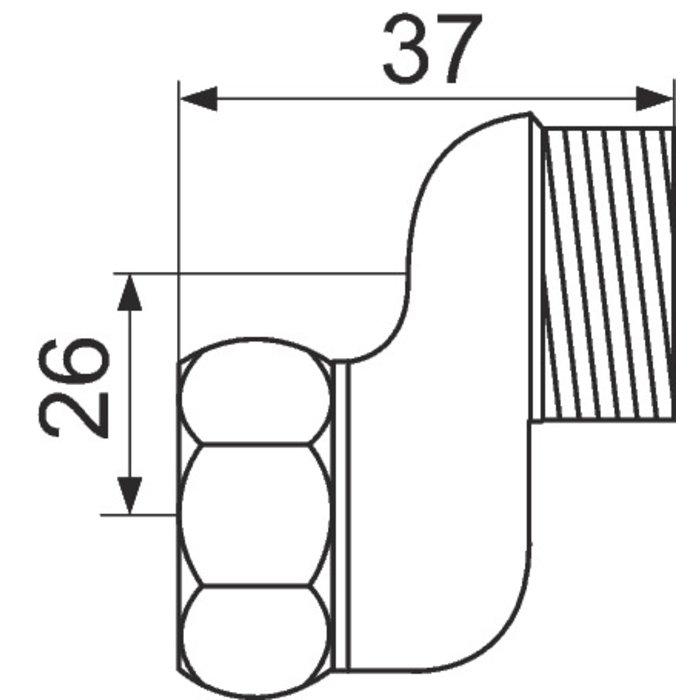 Raccord excentré - Mâle / Femelle Excentration de 26 mm - Écrou tournant-1