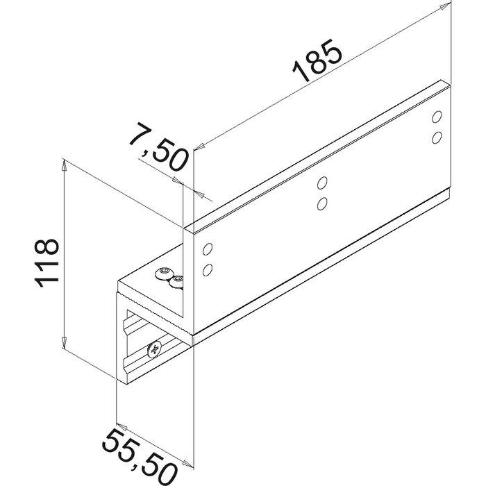 Équerre de fixation pour ventouse 300 et 550 DAN - En Z - Aluminium-1