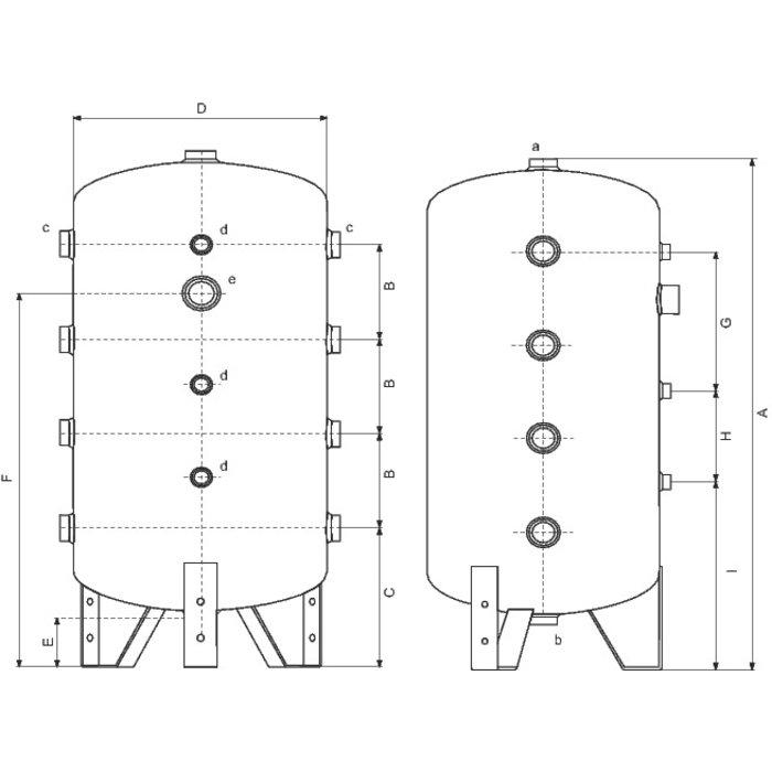 Bouteille de mélange - Chauffage et climatisation - Capacité 100 - 200 l-1
