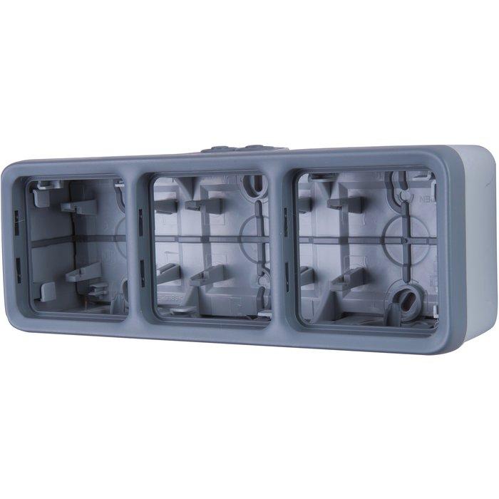Boîtier à embout Plexo IP55 - 3postes - Horizontal - Appareillage composable