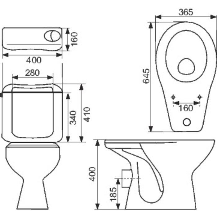 Pack WC avec abattant double blanc-1
