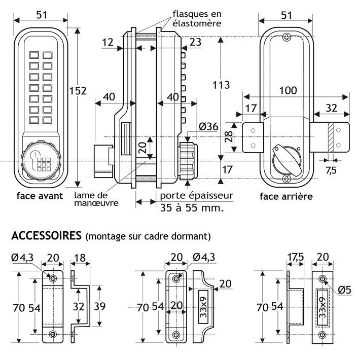 Verrou à code - Mécanique - Aluminium brossé-1