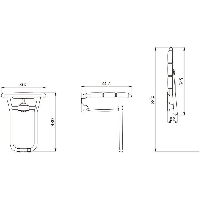 Siège de douche relevable avec pied - Plastique blanc-1