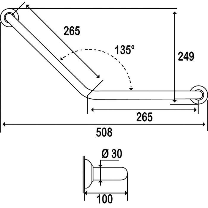 Barre d'appui coudée - Aluminium - Époxy blanc - Fixations invisibles-1