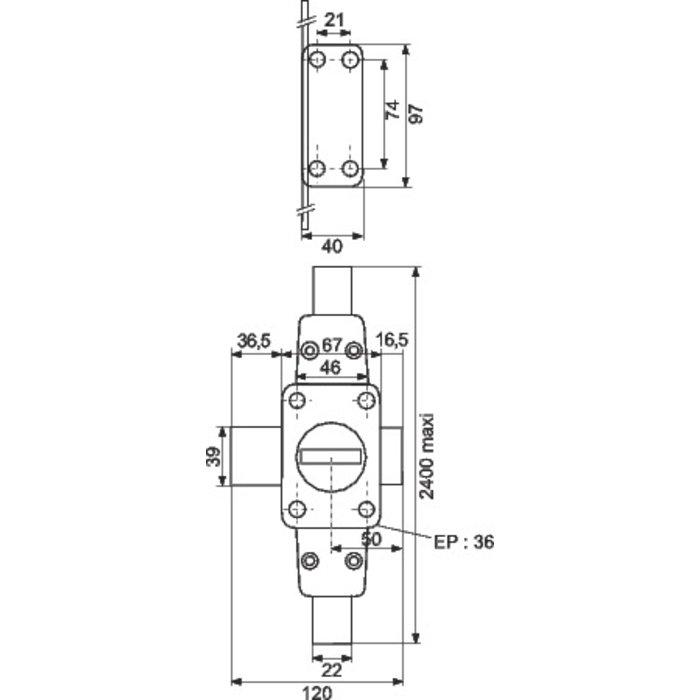 Verrou haut et bas Zenith - À cylindre double-1