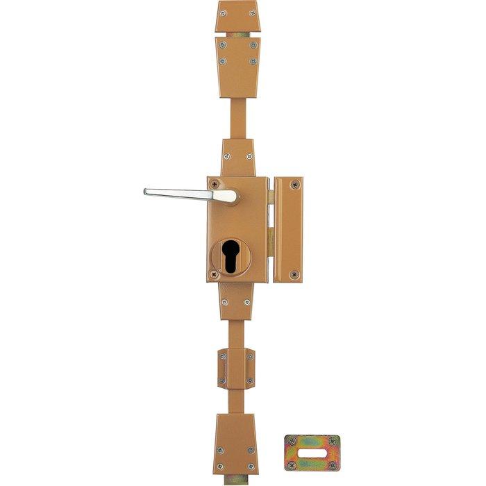 Serrure en applique verticale CP - À fouillot - Marron - Axe 45 mm-1