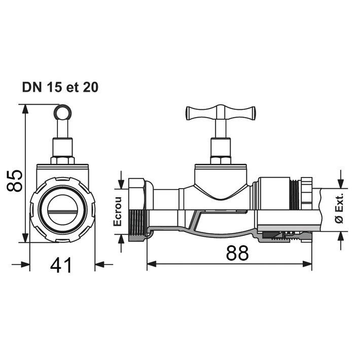 Robinet après compteur avec tête potence - Pour tube polyéthylène semi-rigide - Femelle-1