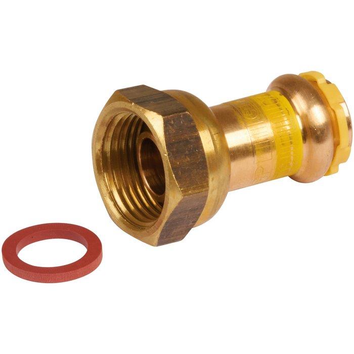 Raccord à écrou tournant à sertir - 2 pièces - Spécial gaz - Cuivre - Femelle