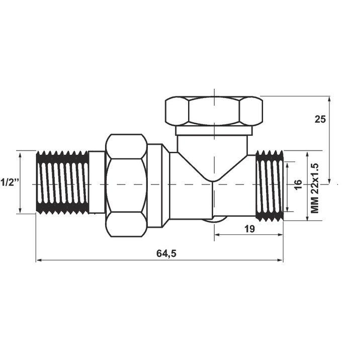 """Té de réglage pour radiateur SAR M22 - Droit - Mâle - Filetage 1/2""""-1"""