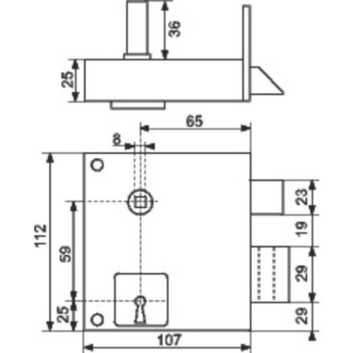 Serrure en applique verticale Alsace - Axe 65 mm-1