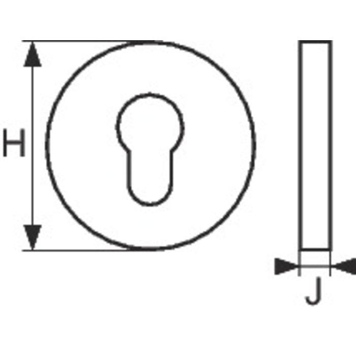 Rosace carrée pour poignée de porte Watford et Croxley - Double - Zamak chromé satiné-2