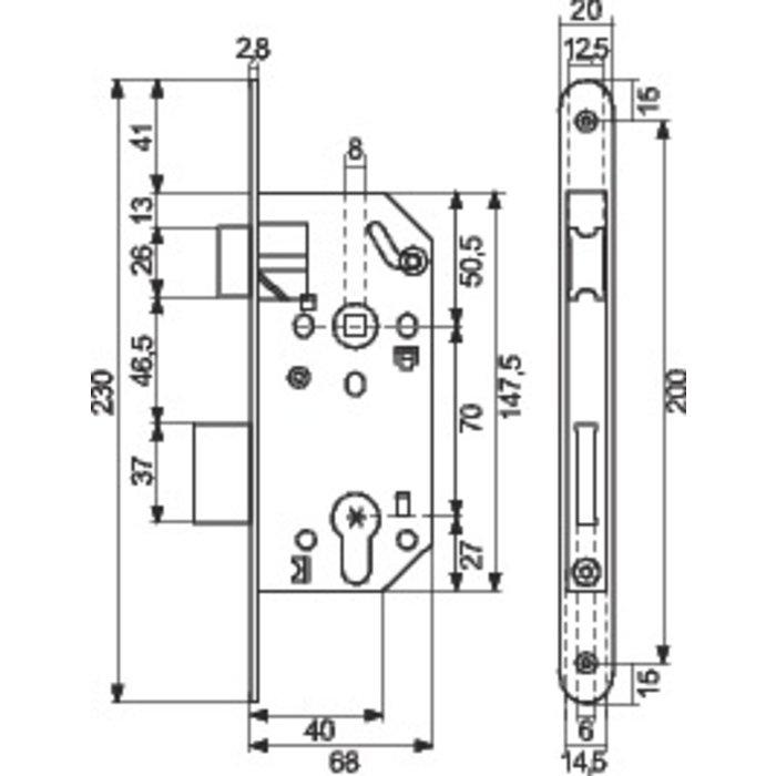 Serrure à larder Unimax CE NF QC - Axe 50 mm-1