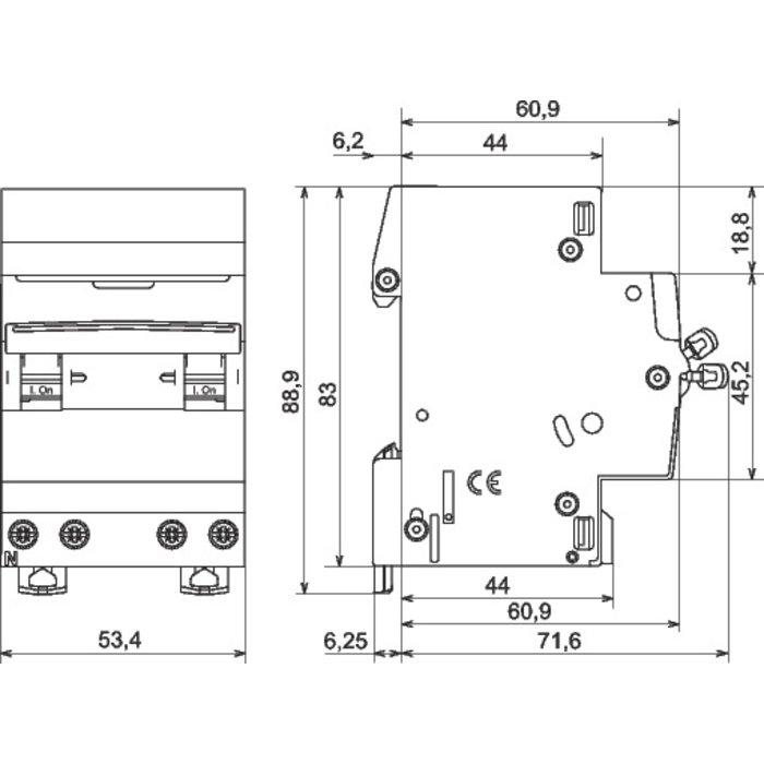 Disjoncteur DX³ 6000 - 10 kA - Courbe C - Protection des départs - 3 modules-1