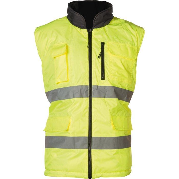 Gilet haute visibilité réversible Hi-Way - Polyester - Gris / Jaune fluorescent