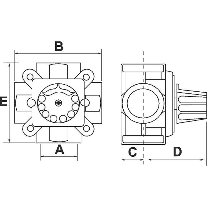Vanne mélangeuse à secteur - 4 voies - Laiton - Femelle / Femelle-1