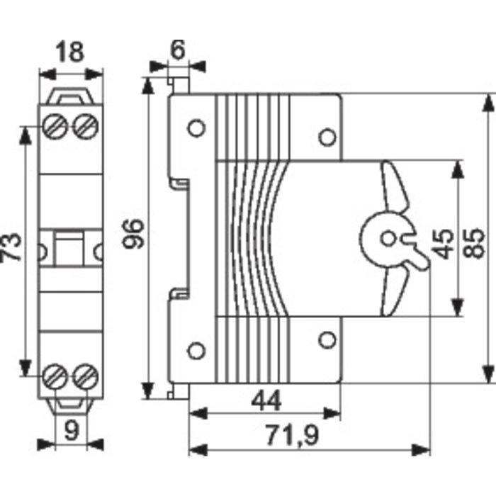 Disjoncteur à vis Ph+N - 4,5 kA - Cource C - 1 module-1