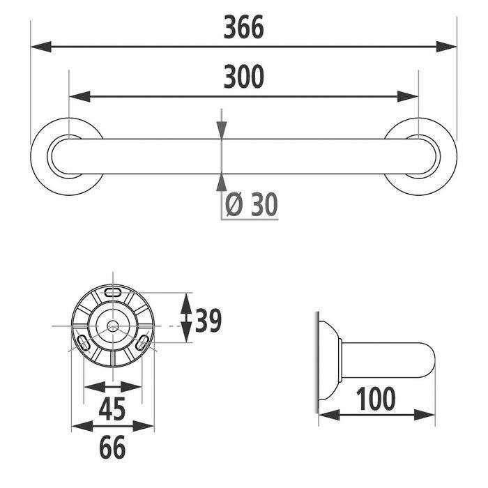Barre d'appui droite - Aluminium - Époxy blanc - Fixations invisibles-1
