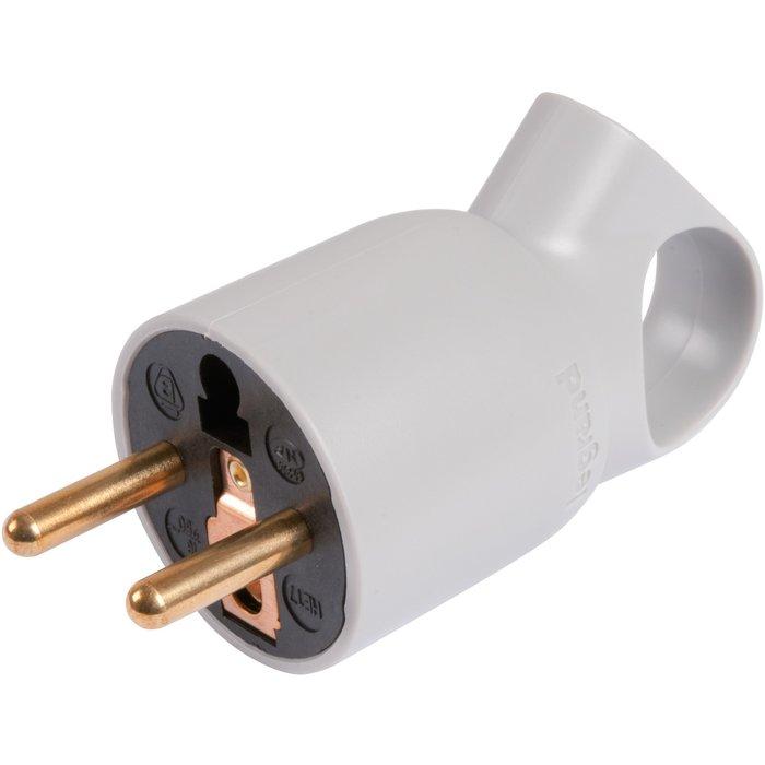 Fiche électrique 2P+T - Avec anneau - Plastique - Gris
