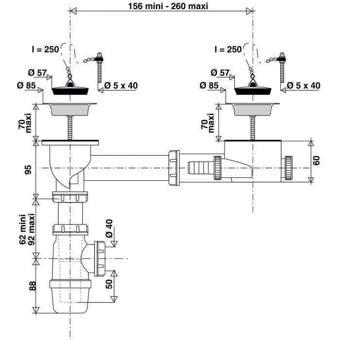 Vidage complet pour éviers grès 2 bacs-1