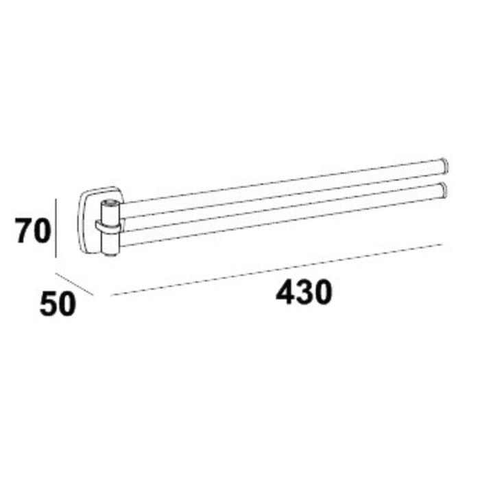 Porte-serviette - 2 barres mobiles - Longueur 420 mm-1
