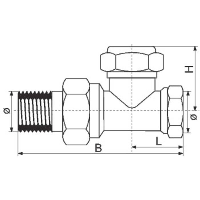 Té de réglage pour radiateur vidangeable SAR - À visser - Droit - Femelle-1
