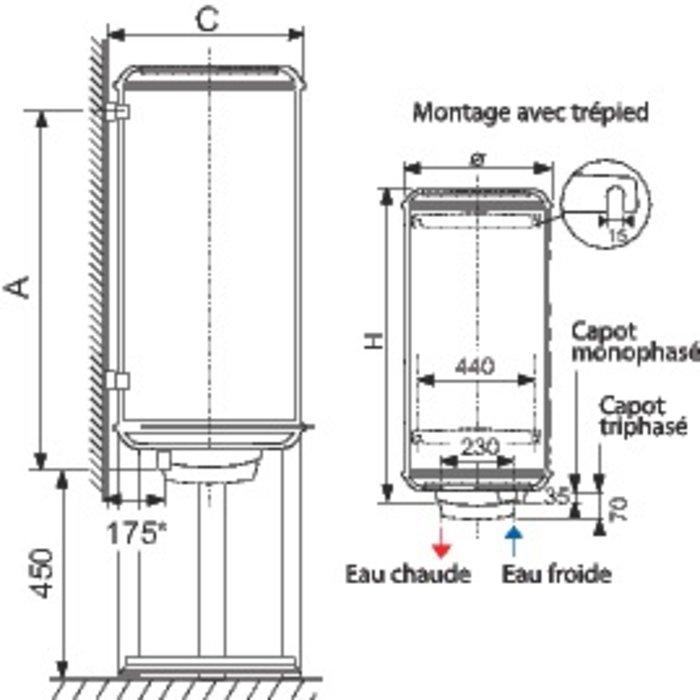 Chauffe-eau Chaufféo stéatite Plus vertical - Fixation murale-1