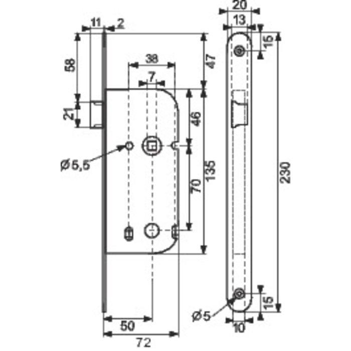 Serrure à larder D10 - Bouts ronds - Axe 50 mm-1