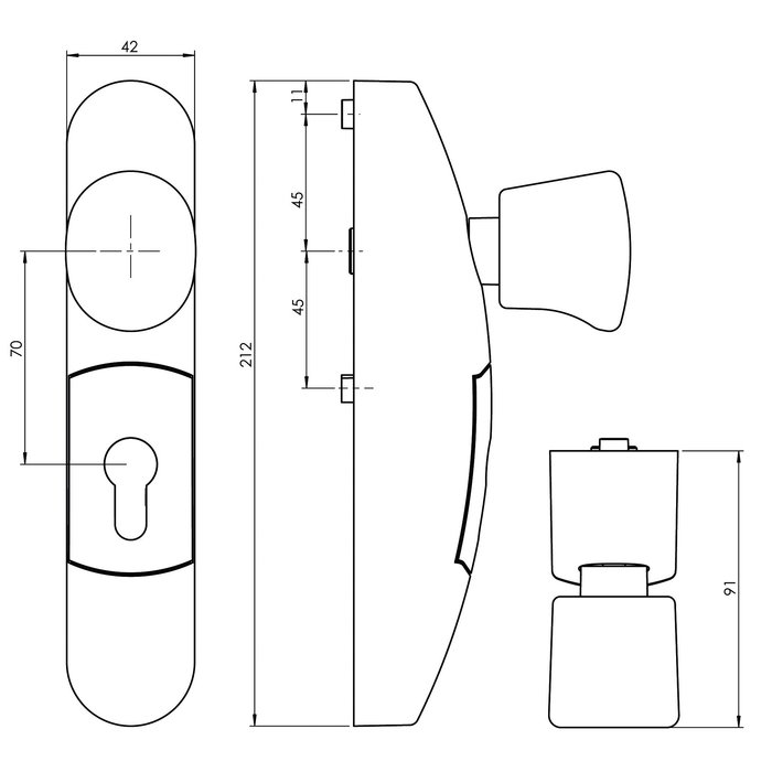 Module extérieur 3600 - Fixe - Pour serrure anti-panique-1