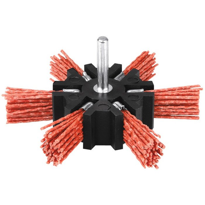 Brosse abrasive éventail - Nylon - Rouge-1