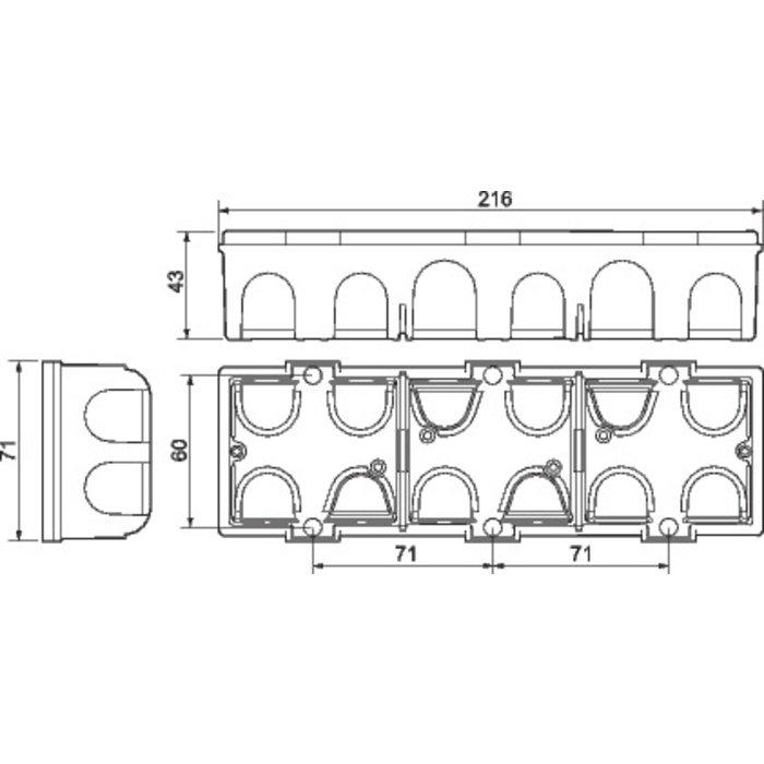 Boîte d'encastrement Batibox - Maçonnerie - 3 postes - Profondeur 40 mm-1
