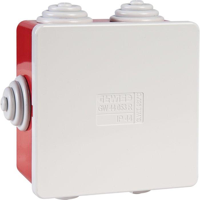 Boîte de dérivation carrée IP44 - Avec passe-fils - Couvercle bas à pression