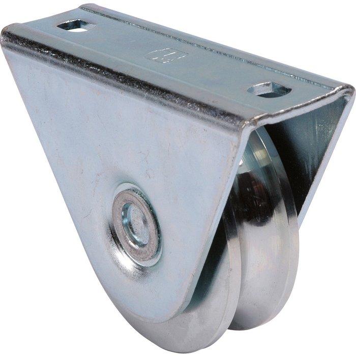 Roue de portail - À gorge ronde - Avec support extérieur - Diamètre 80 mm