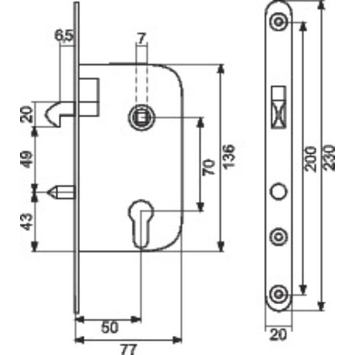 Serrure à larder à mentonnet Multibat - Axe 50 mm-1