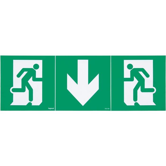 Étiquette d'évacuation adhésive pour BAES - Kit de 3 - Flèche vers le bas